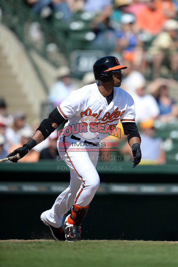 Baltimore Orioles designated hitter Henry Urrutia (51) during a Spring Training game against the Tampa Bay Rays on March 14, 2015 at Ed Smith Stadium in Sarasota, Florida.  Tampa Bay defeated Baltimore 3-2.  (Mike Janes/Four Seam Images)