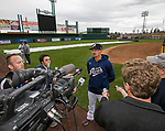 Pitcher Braden Shipley talks with the local media during the Reno Aces 2019 Media Day at Greater Nevada Field in downtown Reno, Nevada on Monday, April 1, 2019.