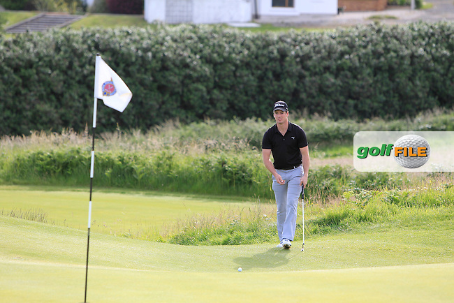 Colin Fairweather (Knock) on the 3rd green during Round 3 Matchplay of the North of Ireland Amateur Open Championship at Royal Portrush, Dunluce Course on Thursday 16th July 2015.<br /> Picture:  Golffile | Thos Caffrey