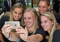 Arena Loire,  Trélazé,  France, 14 April, 2016, Semifinal FedCup, France-Netherlands, Official Diner,  Dutch team make a selfie Ltr: Arantxa Rus, Kiki Bertens, Cindy Burger, and Richel Hogenkamp <br /> Photo: Henk Koster/Tennisimages