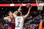 Real Madrid's Luka Doncic and FC Barcelona Lassa's Marcus Eriksson duringTurkish Airlines Euroleague match between Real Madrid and FC Barcelona Lassa at Wizink Center in Madrid, Spain. March 22, 2017. (ALTERPHOTOS/BorjaB.Hojas)