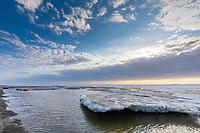 Sea ice along the Arctic Ocean in Utqiagvik (Barrow) Alaska in Alaska's Arctic.