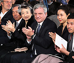 April 19, 2017, Tokyo, Japan - French fashion giant Dior CEO Sidney Toledano (C) smiles with Japanese actress Nanako Matsushima (R) as they enjoy Dior's 2017 spring-summer haute couture collection at the rooftop of the Ginza Six in Tokyo on Wednesday, April 19, 2017. Tokyo's new landmark Ginza Six will open on April 20 where Dior will have its flagship store.     (Photo by Yoshio Tsunoda/AFLO) LwX -ytd-