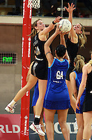 07.08.2010 Silver Ferns Leana de Bruin and Casey Willaims defend against Samoa's Malu Faasavalu in action during the Silver Ferns v Samoa netball test match played at Te Rauparaha Arena in Porirua, Wellington. Mandatory Photo Credit ©Michael Bradley.