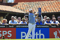 Lee Westwood (ENG) on the 1st tee during Round 2 of the ISPS Handa World Super 6 Perth at Lake Karrinyup Country Club on the Friday 9th February 2018.<br /> Picture:  Thos Caffrey / www.golffile.ie<br /> <br /> All photo usage must carry mandatory copyright credit (&copy; Golffile | Thos Caffrey)