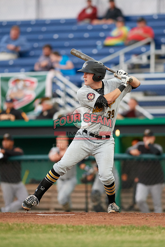 West Virginia Black Bears first baseman Luke Mangieri (39) at bat during a game against the Batavia Muckdogs on June 18, 2018 at Dwyer Stadium in Batavia, New York.  Batavia defeated West Virginia 9-6.  (Mike Janes/Four Seam Images)