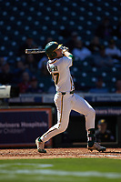 Chase Wehsener (37) of the Baylor Bears follows through on his swing against the Missouri Tigers in game one of the 2020 Shriners Hospitals for Children College Classic at Minute Maid Park on February 28, 2020 in Houston, Texas. The Bears defeated the Tigers 4-2. (Brian Westerholt/Four Seam Images)