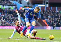Conor Hourihane of Aston Villa tackles Maikel Kieftenbeld of Birmingham City<br /> <br /> Photographer Leila Coker/CameraSport<br /> <br /> The EFL Sky Bet Championship - Aston Villa v Birmingham City - Sunday 11th February 2018 - Villa Park - Birmingham<br /> <br /> World Copyright &copy; 2018 CameraSport. All rights reserved. 43 Linden Ave. Countesthorpe. Leicester. England. LE8 5PG - Tel: +44 (0) 116 277 4147 - admin@camerasport.com - www.camerasport.com