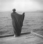 Woman with blackout on dock at Moosehead Lake. 1995. Vintage Print 1/1.