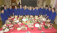 Pupils from Miltwon Secondary School pictured with their Christmas Fayre of cakes, puddings and chocolate logs which they prepared for next weekends festivities. Included are from left, Rachel O'Shea, Catherine Sheehan, Catriona O'Grady, Noelle Savage, Catherine Doyle, Dara Laverty, Rose O'Meara, Selina O'Grady, Karen Moriarty, Marie O'Connell, Eoin O'Sullivan, Sharon Healy and Cara O'Sullivan.<br />
