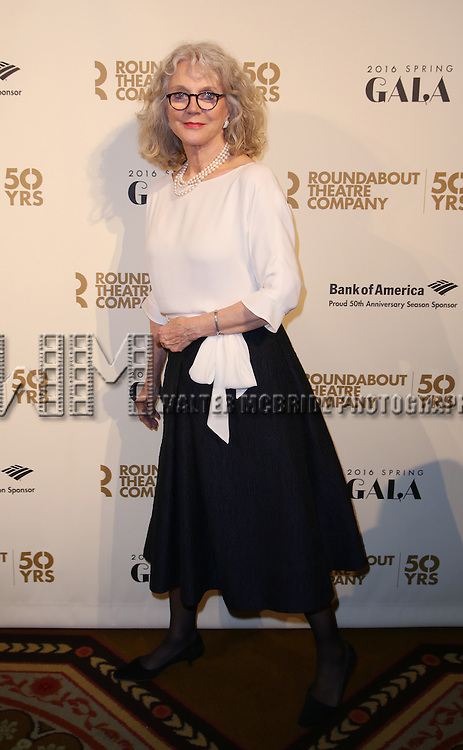 Blythe Danner attends the Roundabout Theatre Company's  50th Anniversary Gala at The Waldorf-Astoria on February 29, 2016 in New York City.