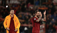 Football Soccer: UEFA Champions League  Round of 16 Second Leg, AS Roma vs FC Shakhtar Donetsk, Stadio Olimpico Rome, Italy, March 13, 2018. <br /> Roma's Captain Daniele De Rossi (r) and Edin Dzeko (l) celebrate after winning 1-0 the Uefa Champions League football soccer match between AS Roma and FC Shakhtar Donetsk, at at Rome's Olympic stadium, March 13, 2018.<br /> UPDATE IMAGES PRESS/Isabella Bonotto