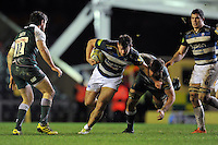 Nathan Catt of Bath Rugby takes on the Leicester Tigers defence. Aviva Premiership match, between Leicester Tigers and Bath Rugby on November 29, 2015 at Welford Road in Leicester, England. Photo by: Patrick Khachfe / Onside Images