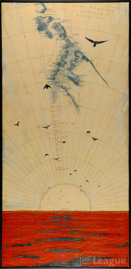 Red encaustic painting with antique map of Antarctica and birds flying over an indian red sea.