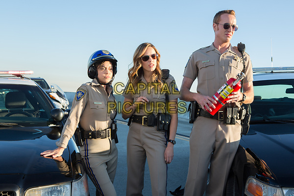 CHIPS (2017)<br /> ROSA SALAZAR as Ava Perez, JESSICA McNAMEE as Lindsey Taylor and JESS ROWLAND as Rathbun<br /> *Filmstill - Editorial Use Only*<br /> FSN-K<br /> Image supplied by FilmStills.net