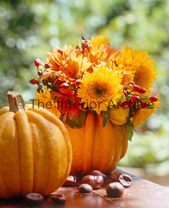 Pumpkins make an unusual autumnal vase