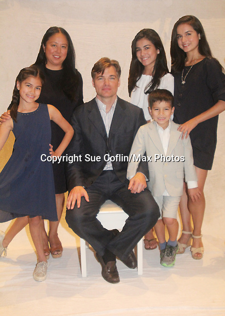 """""""Project Dad"""" starring 3 families - celebrity dads and their kids - Daniel Cosgrove (GL) with daughters Ruby (blue), Esme (white), Lily (black) and son Finn and wife Marie. On August 31, 2016 a filmed segment - a press conference - was held at the Italian Center of Stamford, CT. The show Project Dad will air on TLC, Discovery Family and Discovery Life on November 4, 2016.  (Photo by Sue Coflin/Max Photos)"""