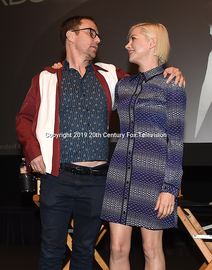 "LOS ANGELES - AUGUST 19: Actors Sam Rockwell and Michelle Williams during the AwardsLine Panel screening and conversation for FX's ""Fosse/Verdon"" at the Zanuck Theatre on the Fox Studio Lot on August 19, 2019 in Los Angeles, California. (Photo by Frank Micelotta/FX/PictureGroup)"