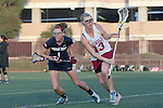 Santa Barbara, CA 02/18/12 - Stephanie Albee (Arizona State #13) and Shelby Baron (BYU #1) in action during the Arizona State vs BYU matchup at the 2012 Santa Barbara Shootout.  BYU defeated Arizona State 10-8.