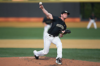 Wake Forest Demon Deacons starting pitcher Connor Johnstone (3) delivers a pitch to the plate against the Clemson Tigers at David F. Couch Ballpark on March 12, 2016 in Winston-Salem, North Carolina.  The Tigers defeated the Demon Deacons 6-5.  (Brian Westerholt/Four Seam Images)