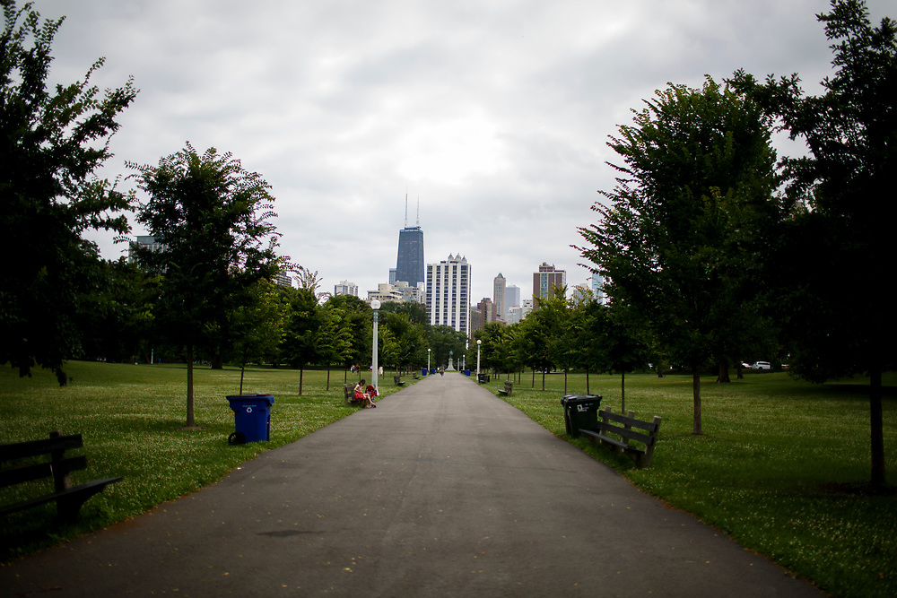 Chicago's skyline including the John Hancock Center is seen from the Lincoln Park Zoo on Friday, July 14, 2017. (Photo by James Brosher)
