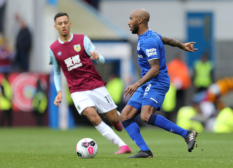 Everton's Fabian Delph under pressure from Burnley's Dwight McNeil <br /> <br /> Photographer Rich Linley/CameraSport<br /> <br /> The Premier League - Burnley v Everton - Saturday 5th October 2019 - Turf Moor - Burnley<br /> <br /> World Copyright © 2019 CameraSport. All rights reserved. 43 Linden Ave. Countesthorpe. Leicester. England. LE8 5PG - Tel: +44 (0) 116 277 4147 - admin@camerasport.com - www.camerasport.com