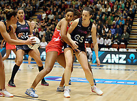 10.09.2017 Silver Ferns Bailey Mes and England's Geva Mentor in action during the Taini Jamison Trophy match between the Silver Ferns and England at Pettigrew Green Arena in Napier. Mandatory Photo Credit ©Michael Bradley.