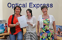 12/08/14  Optical Express competition winner, Adrienne Moore, left with her mother, Kathleen with Sharon McCormack, Patient Advisor Optical Express (centre)..<br /> Balbriggan mum, Adrienne was so delighted with the results of her lens replacement surgery at Optical Express, that her mum, Kathleen also decided to undergo the procedure. They are both extremely happy with the results, especially Kathleen who had the onset of cataracts and was suffering from increasingly cloudy vision... Picture Colin Keegan, Collins Dublin.