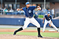 Asheville Tourists pitcher Salvador Justo (38) delivers a pitch during a game against the Rome Braves at McCormick Field on July 29, 2017 in Asheville, North Carolina. The Braves defeated the Tourists 7-3. (Tony Farlow/Four Seam Images)