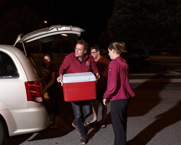 June 30, 2016. Blacksburg, Virginia. <br />  Marc Edwards and members of the Virginia Tech water sampling team, who just returned from 2 weeks in Flint, MI, move new water samples into the lab where they will be stored and tested. <br /> Marc Edwards is a civil engineering/environmental engineer and the Charles P. Lunsford Professor of Civil and Environmental Engineering at Virginia Tech. He is an expert in water quality and corrosion, and his work in Washington DC  and in Flint, Michigan helped to expose high levels of lead contamination in the water supplies of those two cities, triggering investigations into the cause of the pollution.