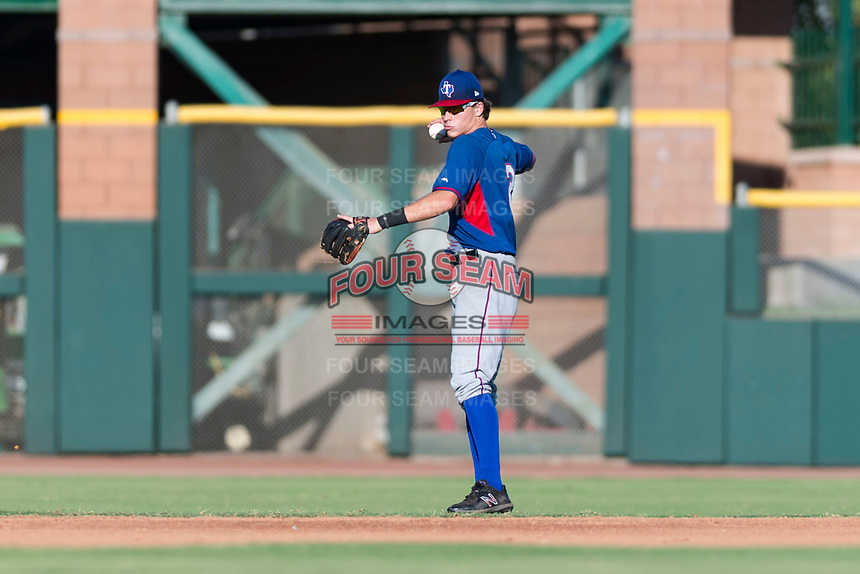 AZL Rangers second baseman Myles McKisic (2) during an Arizona League game against the AZL Giants Black at Scottsdale Stadium on August 4, 2018 in Scottsdale, Arizona. The AZL Giants Black defeated the AZL Rangers by a score of 3-2 in the first game of a doubleheader. (Zachary Lucy/Four Seam Images)