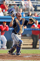 Newark Pilots, of the Perfect Game Collegiate Baseball League, catcher Cash Barker #7 during an exhibition game against the Batavia Muckdogs at Dwyer Stadium on June 15, 2012 in Batavia, New York.  Batavia defeated Newark 8-0.  (Mike Janes/Four Seam Images)