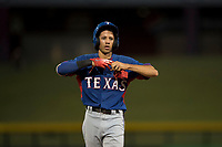 AZL Rangers infielder Jayce Easley (71) during an Arizona League game against the AZL Cubs 2 at Sloan Park on July 7, 2018 in Mesa, Arizona. AZL Rangers defeated AZL Cubs 2 11-2. (Zachary Lucy/Four Seam Images)