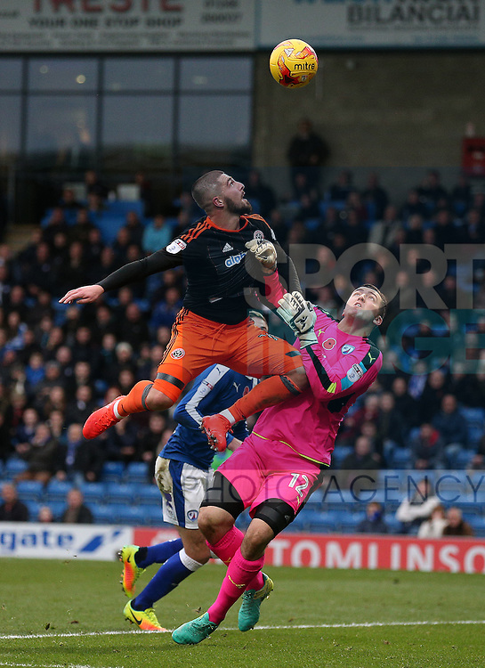Kieron Freeman of Sheffield Utd challenges Ryan Fulton of Chesterfield during the English League One match at the Proact Stadium, Chesterfield. Picture date: November 13th, 2016. Pic Simon Bellis/Sportimage