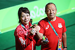 (L to R) <br /> Hiromi Miyaka (JPN), <br />  Yoshiyuki Miyake, <br /> AUGUST 6, 2016 - Weightlifting : <br /> Women's 48kg Medal Ceremony <br /> at Riocentro - Pavilion 2 <br /> during the Rio 2016 Olympic Games in Rio de Janeiro, Brazil. <br /> (Photo by YUTAKA/AFLO SPORT)