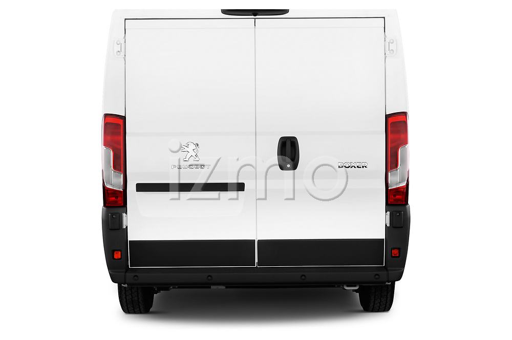 Straight rear view of a 2018 Peugeot Boxer Pro 5 Door Cargo Van stock images