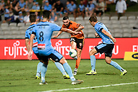 31st January 2020; Netstrata Jubilee Stadium, Sydney, New South Wales, Australia; A League Football, Sydney FC versus Brisbane Roar; Jay O'Shea of Brisbane Roar takes a shot on goal past King and Tetre in the Sydney defence