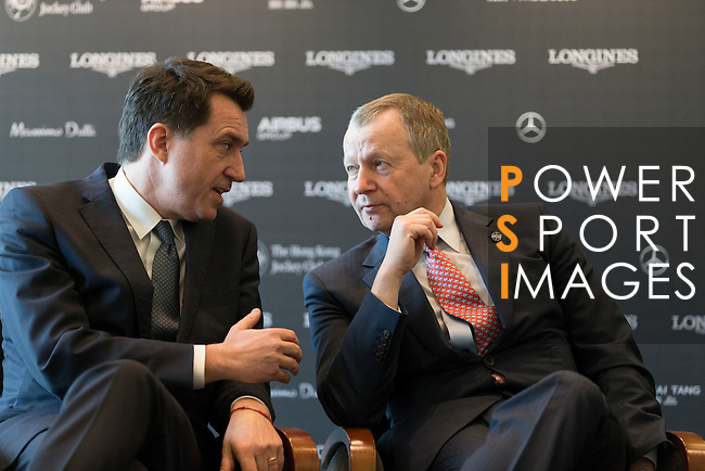 L-R: Fabien Grobon, Managing Director of EEM, Winfried Engelbrecht-Bresges, JP, CEO of The Hong Kong Jockey Club, speak at Longines Hong Kong Masters official press conference at the Happy Valley Racetrack on February 02, 2016 in Hong Kong.  Photo by Victor Fraile / Power Sport Images