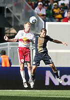 Alejandro Moreno #15 of the Philadelphia Union goes up for a header with Carl Robinson #33 during a MLS match against the New York RedBulls on April 24 2010, at RedBulll Arena, in Harrison, New Jersey.RedBulls won 2-1.