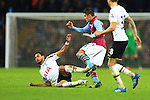 Tottenham's Nacer Chadli tackles Ashley Westwood of Aston Villa and earns a yellow card - Aston Villa vs. Tottenham Hotspurs - Barclay's Premier League - Villa Park - Birmingham - 02/11/2014 Pic Philip Oldham/Sportimage