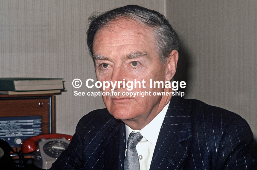 Liam Cosgrave, An Taoiseach, Prime Minister, Rep of Ireland, Fine Gael, TD, MP, 197303250169b<br /> <br /> Copyright Image from Victor Patterson, 54 Dorchester Park, Belfast, UK, BT9 6RJ<br /> <br /> t1: +44 28 9066 1296 (from Rep of Ireland 048 9066 1296)<br /> t2: +44 28 9002 2446 (from Rep of Ireland 048 9002 2446)<br /> m: +44 7802 353836<br /> <br /> e1: victorpatterson@me.com<br /> e2: victorpatterson@gmail.com<br /> <br /> The use of my copyright images is subject to my Terms &amp; Conditions.<br /> <br /> It is IMPORTANT that you familiarise yourself with them. They are available on my website at www.victorpatterson.com.<br /> <br /> None of my copyright images may be used on a website unless they are visibly watermarked, i.e. &copy; Victor Patterson within the body of the visible image. Metadata denoting my copyright must NOT be deleted. <br /> <br /> Web use (maximum size - 300 kb) is extra at currently recommended NUJ rates.