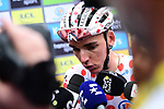 New Polka Dot Jersey holder Romain Bardet (FRA) AG2R La Mondiale talks to the media at sign on before Stage 19 of the 2019 Tour de France originally running 126.5km from Saint-Jean-de-Maurienne to Tignes but cut short to 88.5 km due to heavy hailstorms, France. 26th July 2019.<br /> Picture: ASO/Alex Broadway | Cyclefile<br /> All photos usage must carry mandatory copyright credit (© Cyclefile | ASO/Alex Broadway)