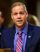 "Jim Bridenstine, Administrator, National Aeronautics and Space Administration, testifies before the United States Senate Committee on Commerce, Science, and Transportation on ""The New Space Race: Ensuring U.S. Global Leadership on the Final Frontier"" on Capitol Hill in Washington, DC on Wednesday, March 13, 2019.<br /> Credit: Ron Sachs / CNP"