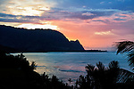 Sunset looking across Hanalei Bay toward Bali Hai from Princeville, Kauai, Hawaii