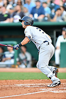 Southern Divisions third baseman Chris Hess (2) of the Charleston RiverDogs swings at a pitch during the South Atlantic League All Star Game at First National Bank Field on June 19, 2018 in Greensboro, North Carolina. The game Southern Division defeated the Northern Division 9-5. (Tony Farlow/Four Seam Images)