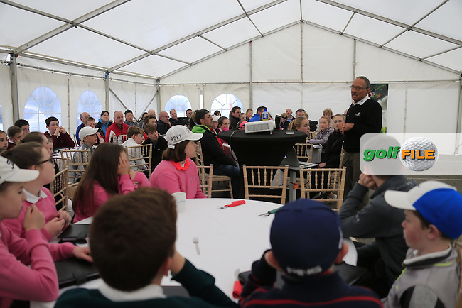Dave Alred speaking to theregional finalists at the national finals of the Dubai Duty Free Irish Open Skills Challenge supported by Bank of Ireland in conjunction with CGI at the GUI National Golf Academy, Carton House, Maynooth, Co Kildare. 24/04/2016.<br /> Picture: Golffile | Fran Caffrey<br /> <br /> <br /> All photo usage must carry mandatory copyright credit (&copy; Golffile | Fran Caffrey)