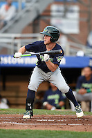 Vermont Lake Monsters outfielder Brett Vertigan (2) attempts a bunt during a game against the Jamestown Jammers on July 12, 2014 at Russell Diethrick Park in Jamestown, New York.  Jamestown defeated Vermont 3-2.  (Mike Janes/Four Seam Images)