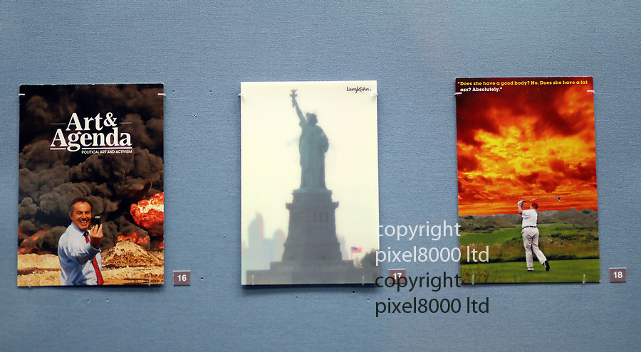 Pic shows: thatcher and reagan under fire<br /> <br /> Political  and feminist postcards feature heavily<br /> <br /> <br />  British Museum - exhibition of postcard artworks featuring Andy Warhol, Jeremy Deller, Gilbert & George and Yoko Ono,<br /> <br /> <br /> <br /> pic by Gavin Rodgers/Pixel8000