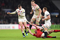 Jonny May of England takes on the Wales defence. Natwest 6 Nations match between England and Wales on February 10, 2018 at Twickenham Stadium in London, England. Photo by: Patrick Khachfe / Onside Images