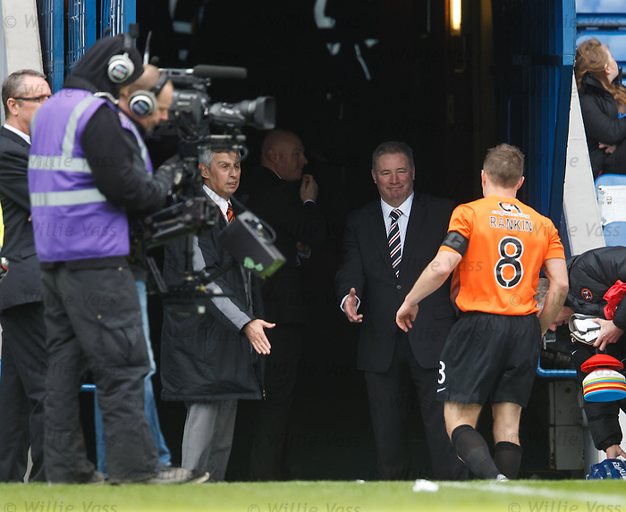 Ally McCoist waiting patiently in the tunnel to shake the hands of every man on the park after the game